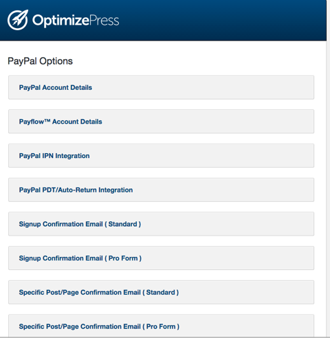 Optimize Press PayPal Options
